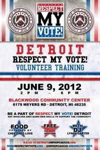Respect My Vote! Detroit Volunteer Training Flyer